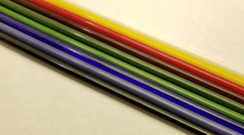 A rainbow of glass color rods